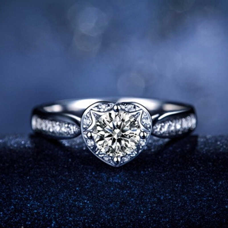 Подарок Lover' белое золото цвет обручальное кольцо сердце любовное Обещание Кольца для женщин винтажные Ювелирные Изделия bague Bijoux аксессуары CC107