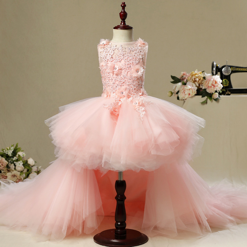 Image 2 - Fancy Flower Girl Dress with Train 2019 Children Show Performance Costume Kids Long Mermaid Tulle Pink Gowns Boutique Clothes-in Dresses from Mother & Kids