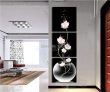 hand-painted stretched  framed oil wall art decoration Transparent pink flowers Landscape Framed canvas painting 3pcs/set