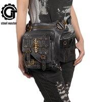 New Gold Accessories Steampunk Waist Bag Vintage Dot Rivet Fanny Packs Retro Thigh Bag Unisex Men