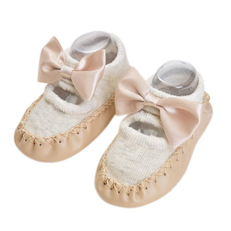 Bebé niños niñas primavera otoño algodón zapatos calcetines lindos calientes antideslizantes zapatos de suelo infantil calcetines calentador interior caminar aprendizaje Calcetines - 2