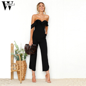 6baf49c8da4 Best Price WYHHCJ 2018 New Sexy Off Shoulder Split Wide Leg Rompers For  Women Slim Waist Party Overalls Ruffles Strap Black Jumpsuit