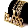 NYUK Carta BENDIGA Colgante Collar de Moda Chapado En Oro Con Bling Del Rhinestone de La Joyería de Hip Hop Discoteca Exagerada Con Caja de Regalo