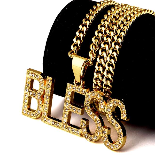 NYUK Trendy Banhado A Ouro Carta ABENÇOE Pingente Colar Com Bling Rhinestone Jóias Hip Hop Boate Exagerada Com Caixa de Presente