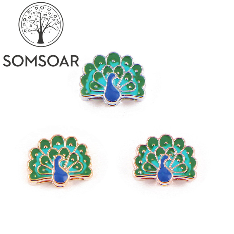 Somsoar Jewelry lordly Peacock oil drip Slide charms fit Leather wrap Mesh Stainless steel Mesh Bracelet 10pcs/lot