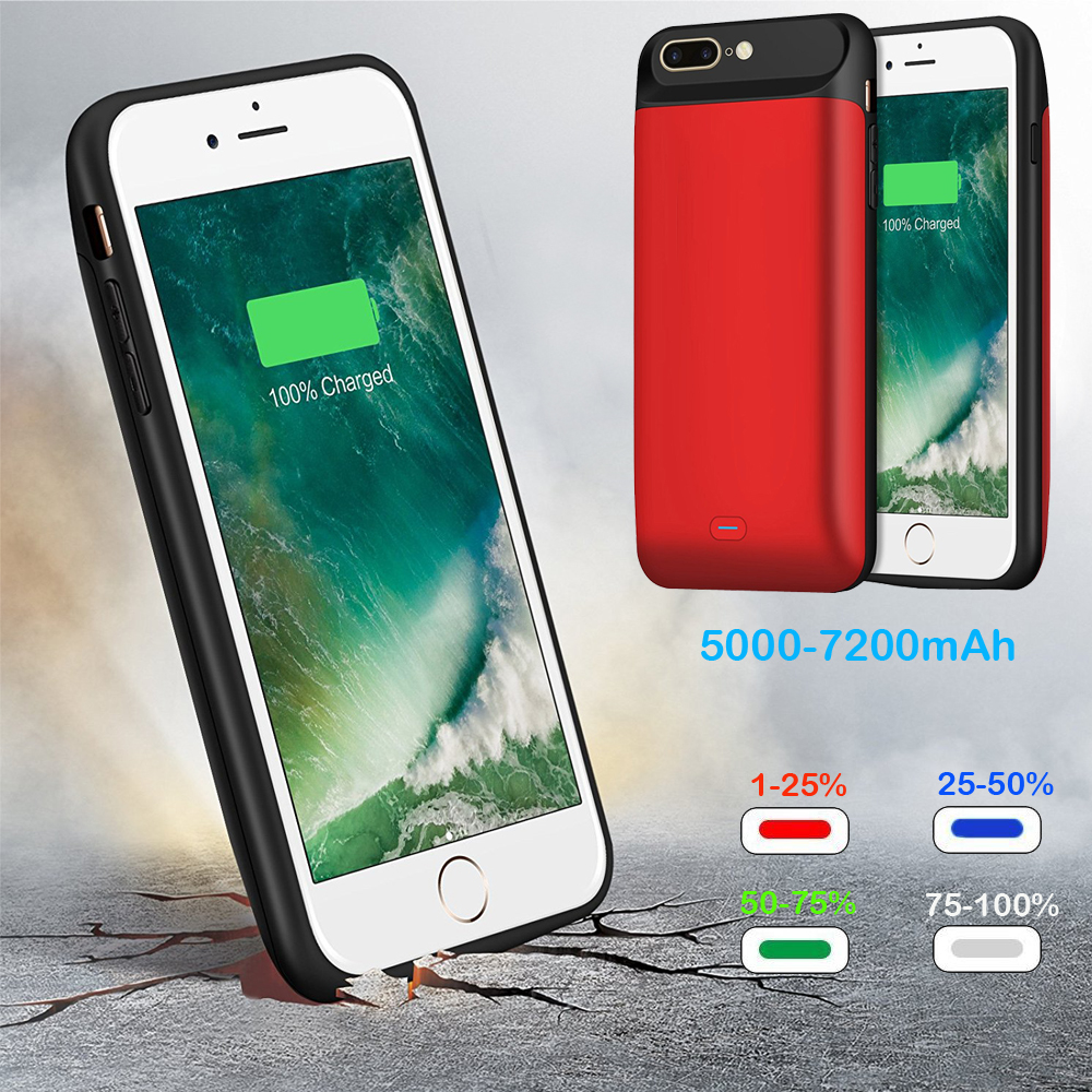 External 5000-7200mAh Smart Magnetic Back TPU Bumper Power Bank Pack Battery Charger Case For iPhone 6 6S 7 8 Plus X 10