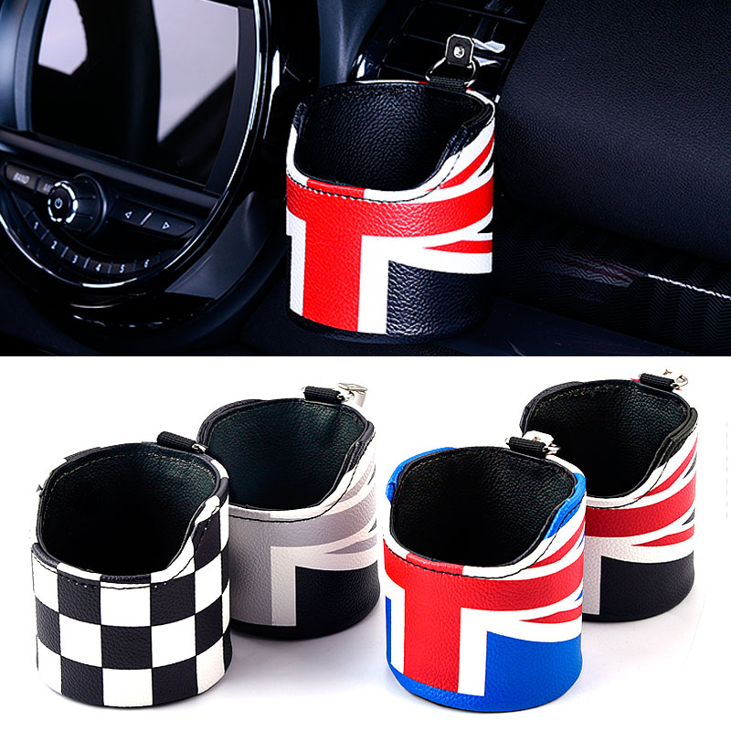 Union Jack Leather Car Auto Air Outlet Pouch Box Bag Organizer Cell Phone Pocket Storage Holder For Mini Cooper Countryman Black Red Union Jack