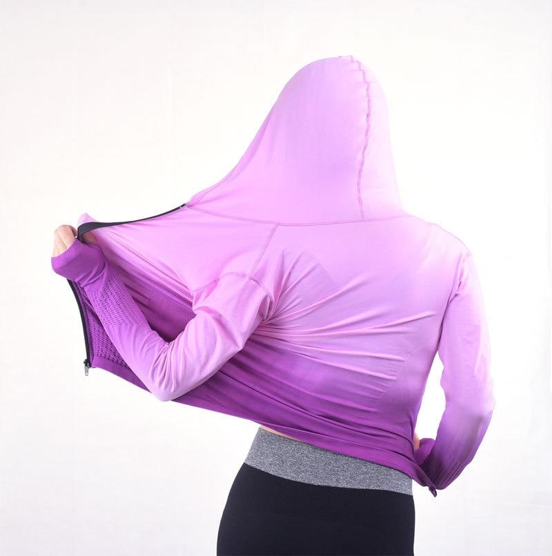 Женские толстовки для спортивных тренировок, одежда для фитнеса, толстовки, женские спортивные футболки с капюшоном, пальто, куртка для бега, V94 - Цвет: Фиолетовый