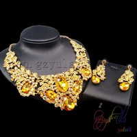 Free shipping bitch jewelry set best imports wholesale jewelry yellow crystal rani haar jewelry set in latest design