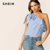 SHEIN Blue or Orange Gingham One Shoulder Ruffle Overlay Top Sleeveless Asymmetrical Blouse Women 2019 Summer Tops and Blouses
