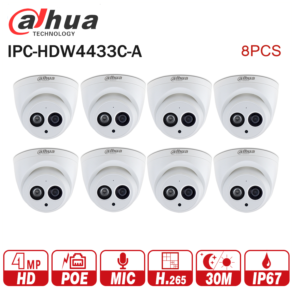 DaHua IPC-HDW4433C-A POE Network Mini Dome Camera With Built-in Micro 4MP CCTV Camera 8pcs/Lot for CCTV System