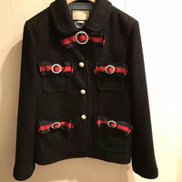 Runway Designer Luxury Brand jacket for Women Bow Bead Tweed Short Coat Black