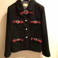 Runway Designer Luxury Brand jacket for Women Bow Bead Tweed Short Coat Black