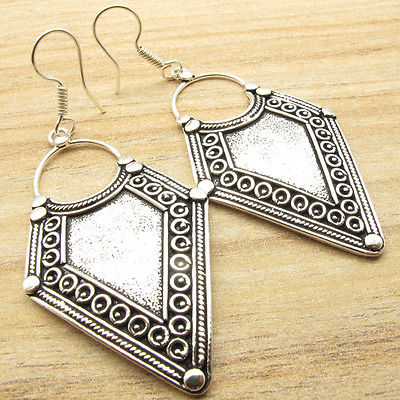 ANCIENT STYLE JEWELRY !!! HANDMADE Earrings ! Silver Plated ONE OF A KIND