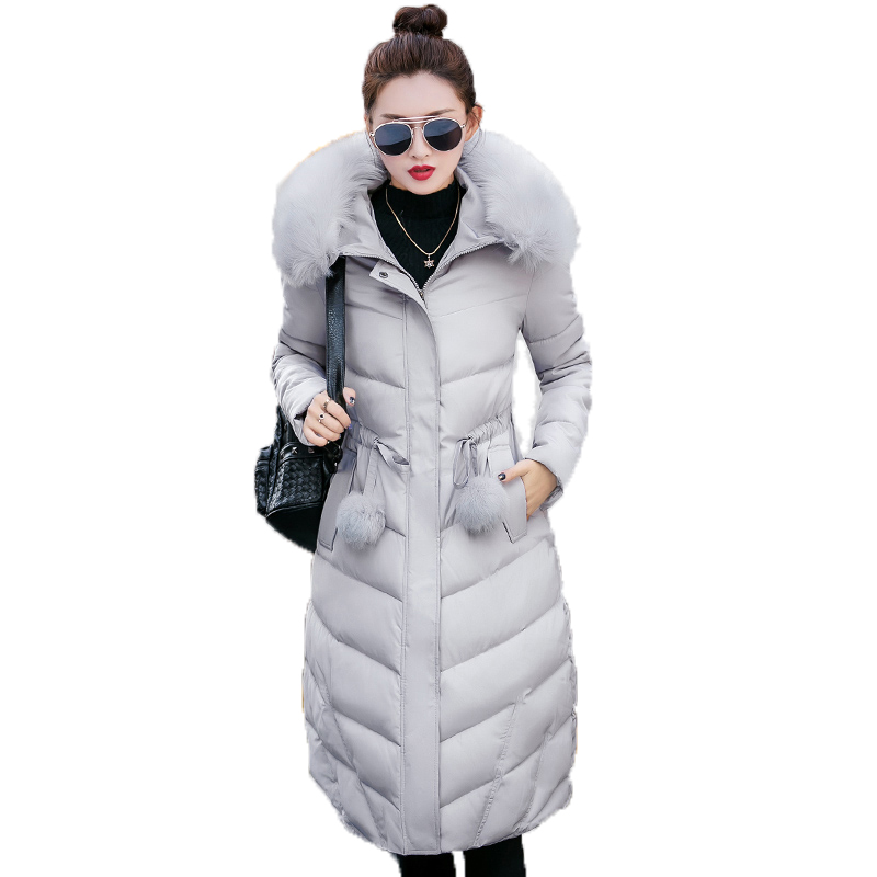 2017 Winter Long Slim Women Coat Casual Warm Cotton-padded Jacket Wadded Female Parka Faux Fur Collar New Hooded Outwear YP0435 high quality thickening warm parka hooded women winter jacket snow wear female long slim winter cotton padded wadded coat cm1490