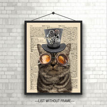 Upcycled Vintage Dictionary Art Print Steampunk Cat Classical Wall Art Fine Art Paper Cat Living Room Poster Unframed(China)