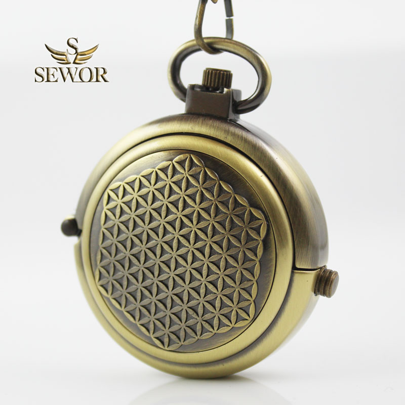 SEWOR Old Brass Opening And Closing New Design Inlaid Bronze Antique Hollow Mechanical Pocket Watch C211