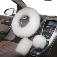 YIKA 3pcs Set Winter Luxurious Plush Warm Car Steering Cover Handbrake Cover And Stop Lever Cover