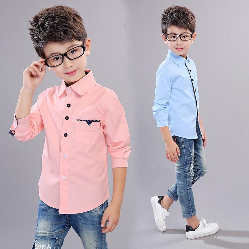 Shirts For Boys Brand Spring Autumn Kids Cotton Casual Shirts Children Blouse Clothing Boys Teenage Sports School Uniform Shirts 5