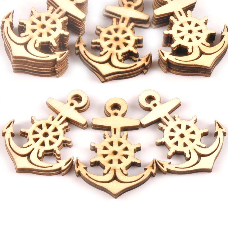 20Pcs 36x49mm Natural Anchor Wooden Ornaments For DIY Crafts Scrapbooking Home Handmade Arts Unfinished Wood Decoration M0873