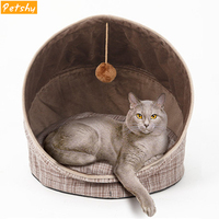 Petshy Foldable Cat Cave House Warm Cotton Puppy Kitten Padded Kennel Nest Small Dogs Pet Playing Sleeping Sofa Cushion Hot Sell