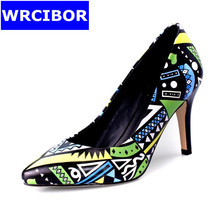 2017 NEW Women's Pumps Genuine leather Pointed toe High-heeled shoes Lady Fashion Geometric patterns Thick Heels High Heels