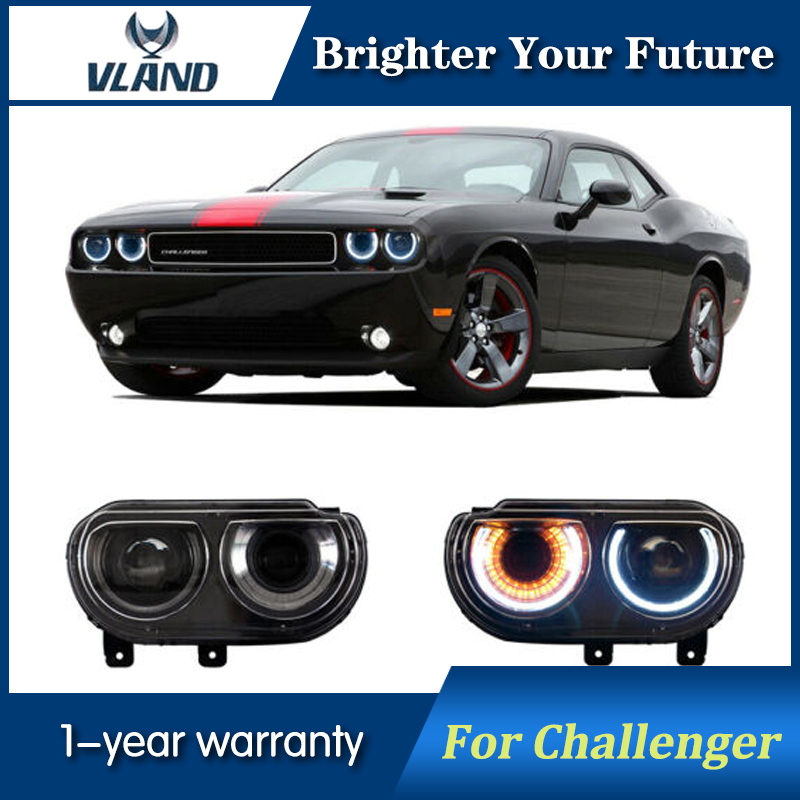 Car Front Light For Dodge Challenger Headlight 2008 2009 2010 2011 2012 2013 2014 LED Head Lamp Plug and Play