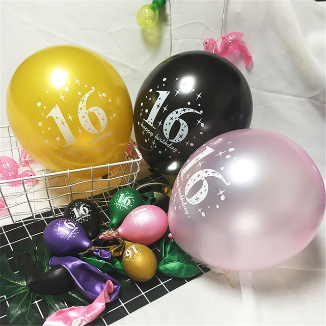 1pcs 16 Happy Birthday Printed Latex Balloons 12inch Helium Globos For Perfect 16th Party Decorations