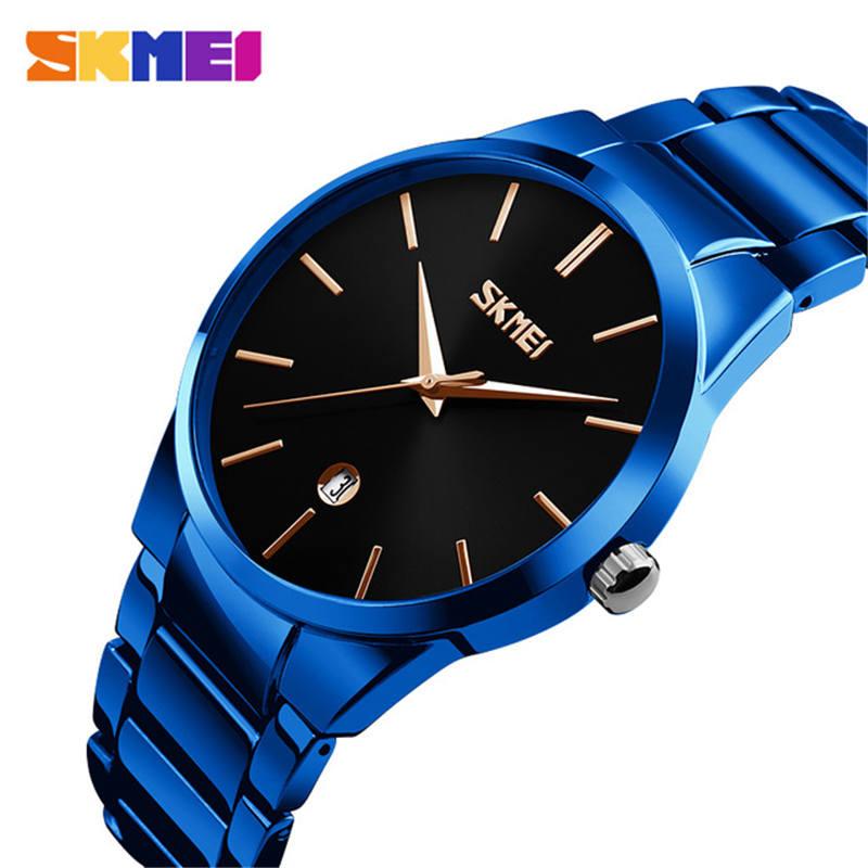 SKMEI 2019 Men's Watches Top Brand Luxury Quart Men Minimalist Man Stainless Steel Wristwatches Calendar Date Clock Male Montre