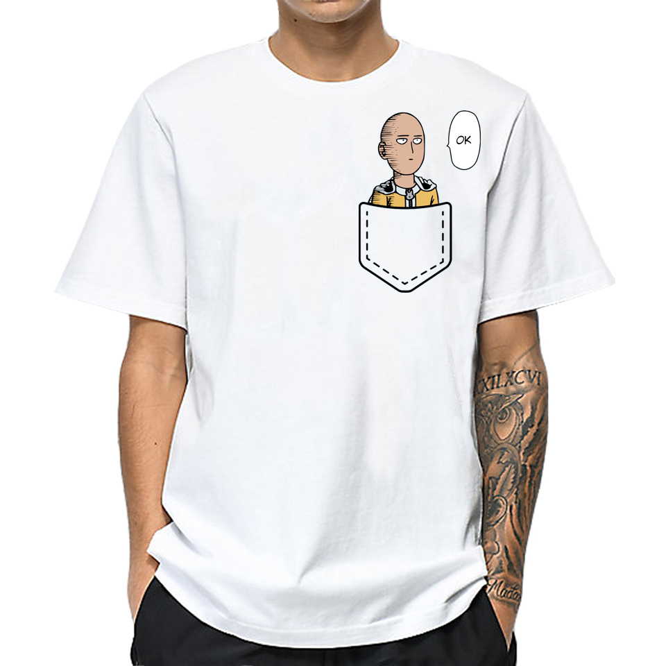 LettBao One Punch Man Men Collar   T     Shirt   Japanese Anime Tshirt White Short Sleeve Summer Top O-Neck Streetwear Funny   T  -  shirt