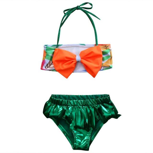 Kids Girls Toddler BOW Halter Tops and Tassel Bottom Shorts bandeau Bikini  Set Swimsuit Swimwear Bathing