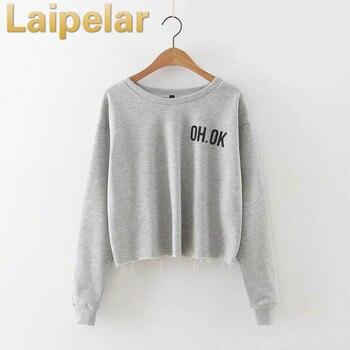 Laipelar Women Autumn letter print hoodies sweatshirt all match fashion crop tops short top women shirts pullover