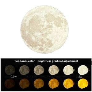 Image 5 - Luz de noche 3D dibujo de Luna, lámpara de estrella, luz de noche con carga por USB Lunar, Control táctil, brillo, dos tonos, 8CM, 10CM, 15CM