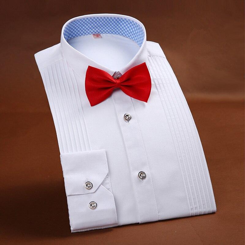 2017 Neue Ankunft Hochwertige Marke Mens Kleidung Französisch Stil Hochzeit Tuxedo Shirt Mens Dress Shirts Bräutigam Langarmshirts Einen Effekt In Richtung Klare Sicht Erzeugen