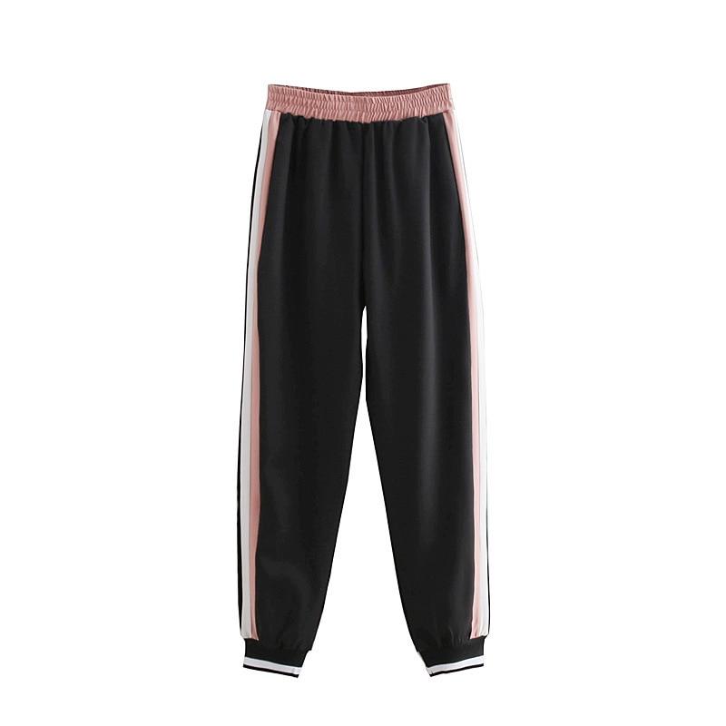HOUZHOU Autumn   Pants   Sweatpants Women SideStripe Panelled Patchwork Jogger Trousers Straight Linen   Wide     Leg     Pants   Elastic Waist