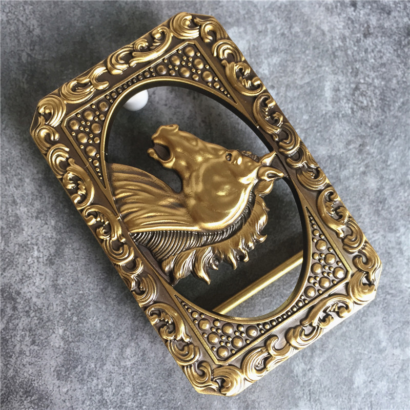 Chinese Style Brass Horse Head Belt Buckle For Man Belt High Quality Leather Man Belt Buckle BK0089