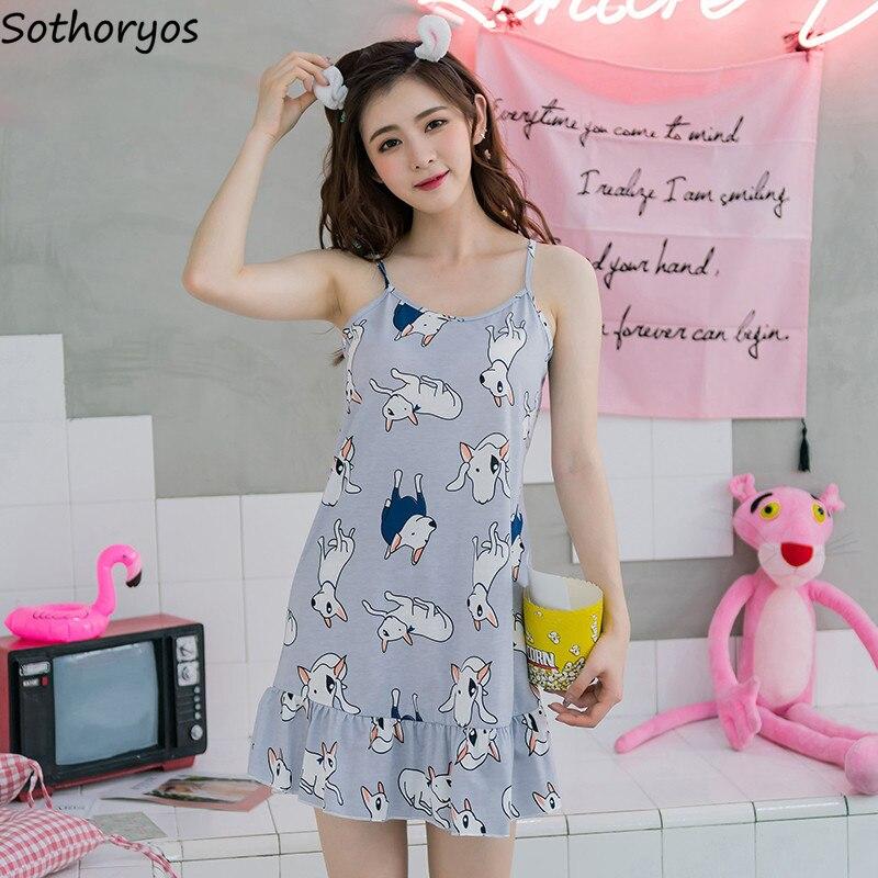 Nightgowns   Women Sleeveless Loose Cartoon Printed Summer Sweet Womens   Sleepshirts   Trendy Kawaii Lovely Students Homewear Cute