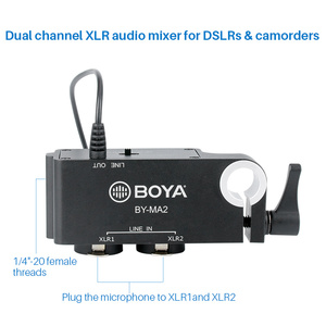 Image 4 - Boya BY MA2 Dual Channel Record Audio Mixer XLR Jack 6.5mm to 3.5mm Wireless Microphone System for DSLR Camera Canon Nikon Sony