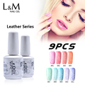 9 Pcs Free Shipping Leather Series Gel Nails Polish Permanent 15ml (7Colors 1Base Coat 1Top Coat)Lacquer Need Uv New Arrival
