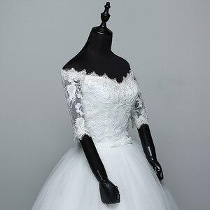 Image 2 - Hochzeit Kleid 2020 Neue Ankunft Blumen Schmetterling Gelinlik Stickerei Spitze Boot ausschnitt Prinzessin Hochzeit Kleider Vestidos De Novia