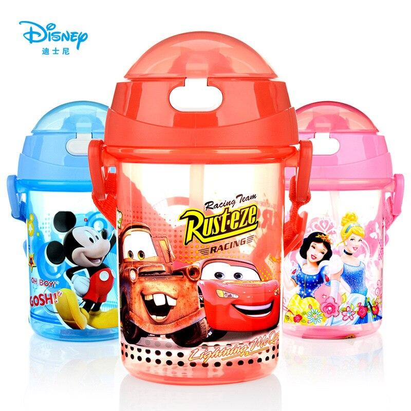 Disney 350 ML bébé Minnie Mickey Mickey souris alimentation tasse avec paille sangle dessin animé voitures neige blanc sport bouteille d'eau
