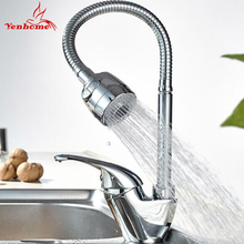 hot deal buy yenhome solid brass kitchen mixer faucet cold and hot kitchen sink taps single hole water tap kitchen faucet torneira cozinha