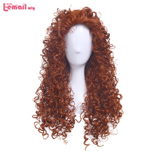 L email wig Animated Movie Brave Merida Princess Cosplay Wigs Orange Curly Synthetic Hair Perucas Women Cosplay Wig