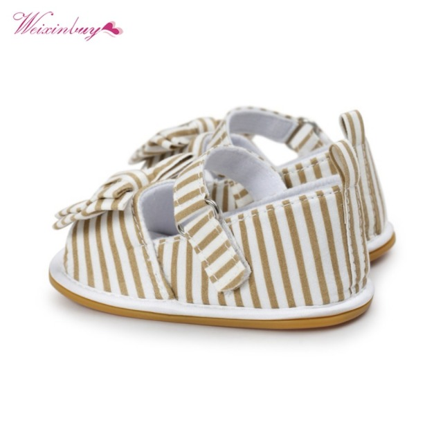 WEIXINBUY Girls Summer Cute Tartan Princess Style Bowknot Breathable Non-slip Soft Bottom Cack First Walkers 0-18M 2