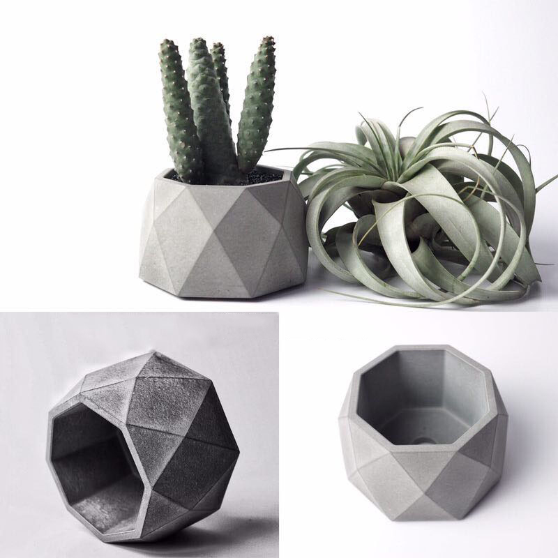 Geometric Succulent Plants Pot Silicone Concrete Mold Candlestick Gypsum Plaster Craft Mould Octagon Cement Clay Flowerpot Molds