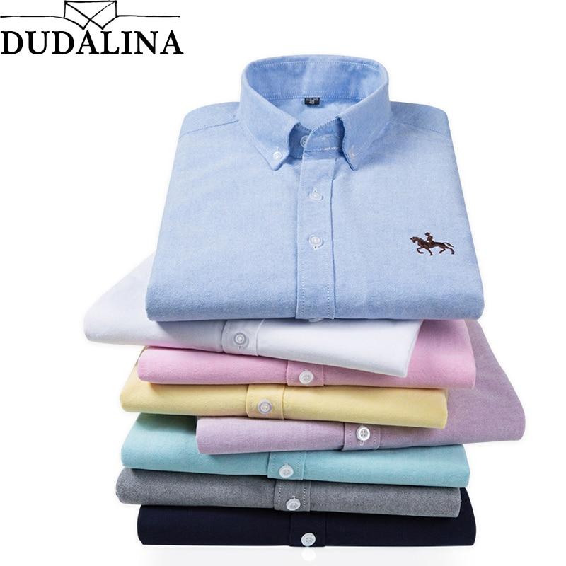 Dudalina Big Size Cotton Brand Shirt Men Long Sleeve Spring Mens Casual Shirts Oxford Dress Shirt Camisa Masculina Printed Horse