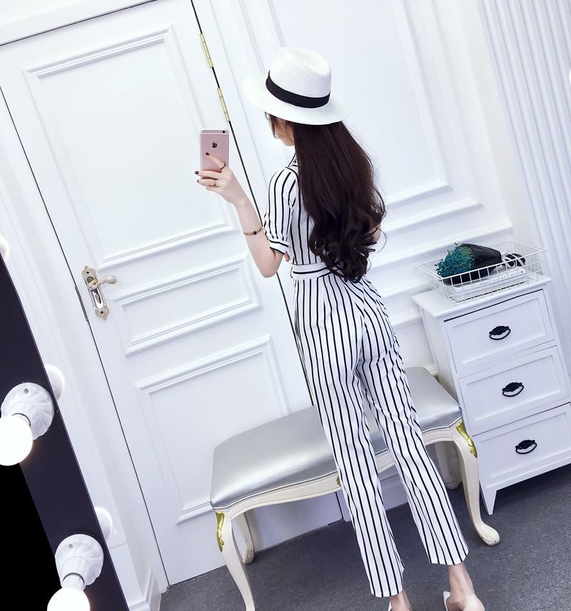 Korean Fashion Chic V Neck Rompers Elegant Bow Pocket Striped Casual Brief Pocket Belt Rompers Womens Jumpsuit 12
