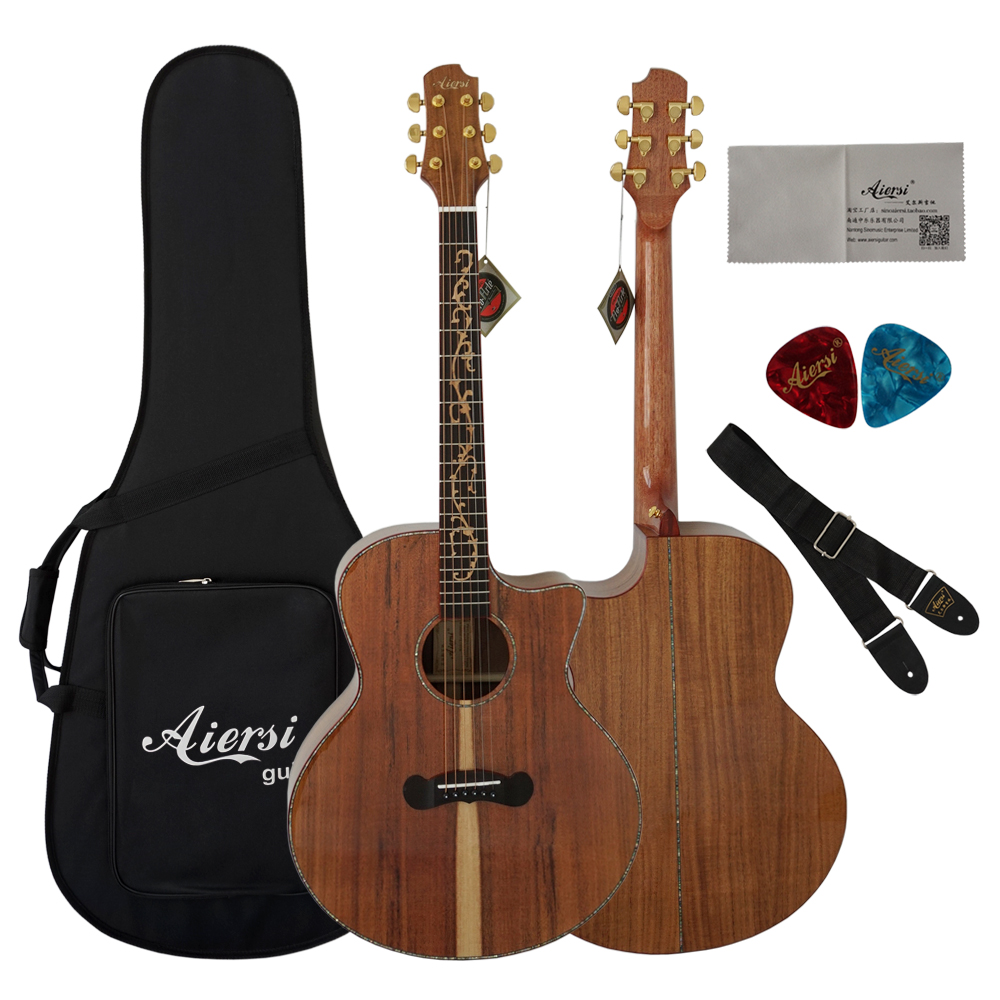Aiersi 2018 New cutway Guitar Acoustic top solid koa acoustic guitar SG02KKC-40 free guitar case performance cutway classic guitar with hard case