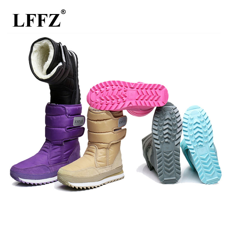 LFFZ 2018 NEW Warm Solid Anti-Slip Snow Boots Women Waterproof Female Winter Boots Thermal Shoes Botas Mujer Plataforma ZLL18 цена