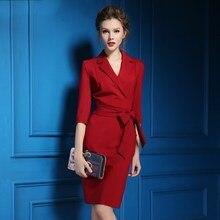 2018 Spring Womens Elegant Office dress black red Pencil Bodycon Dress Business OL Casual dress Wear to Work Women Dresses
